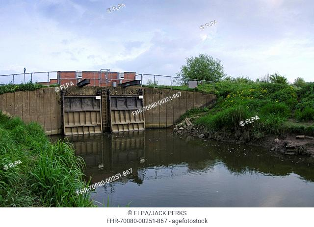 Twin flood barriers, River Severn, Gloucestershire, England, April