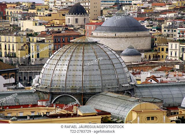 Naples (Italy). Dome of the Umberto I Gallery in the city of Naples
