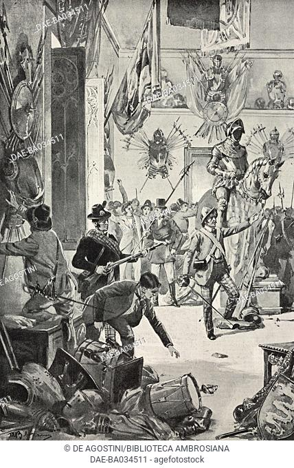 The Milanese seizing the weapons from the Uboldi Gallery, commemorating the Five Days of Milan, 1848, drawing by Achille Beltrame (1871-1945)