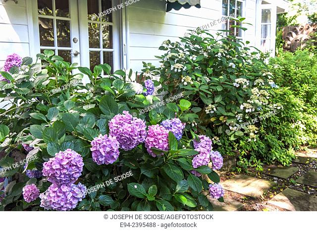 Outdoor living space in a garden setting featuring hydrangeas and boxwoods.Georgia USA