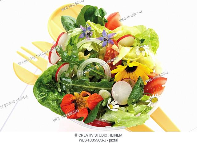 Mixed salad with edible flowers, elevated view