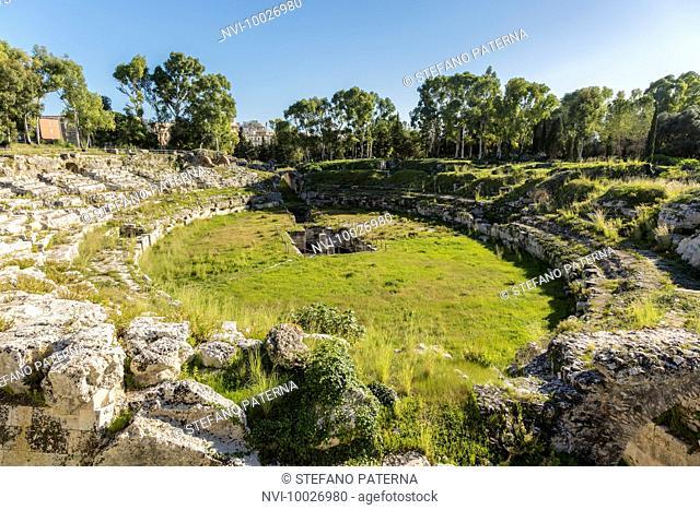 Roman Amphitheatre, Parco Archeologico della Neapoli or Parco della monumental Neapolis, Syracuse, Sicily, Italy