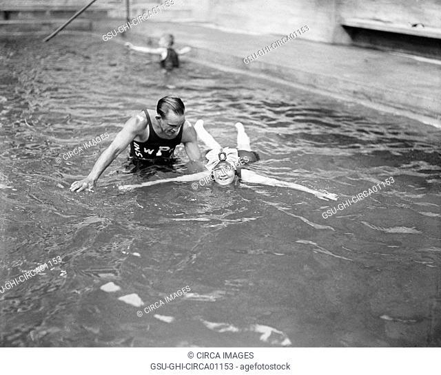 Learning to Swim, Wardman Park Hotel, Washington DC, USA, circa 1922
