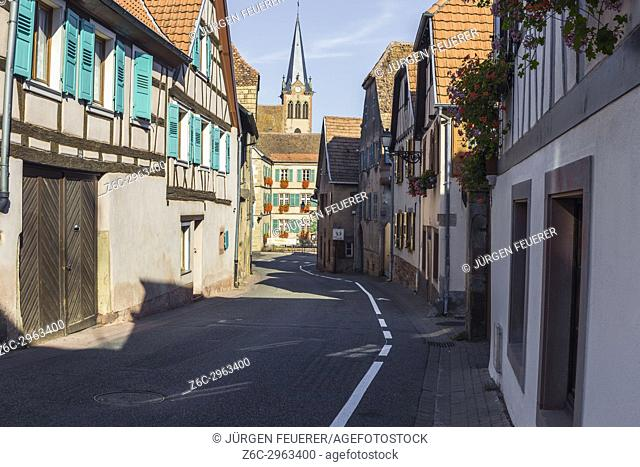 road in the village Boersch, on the Wine Route of Alsace, France