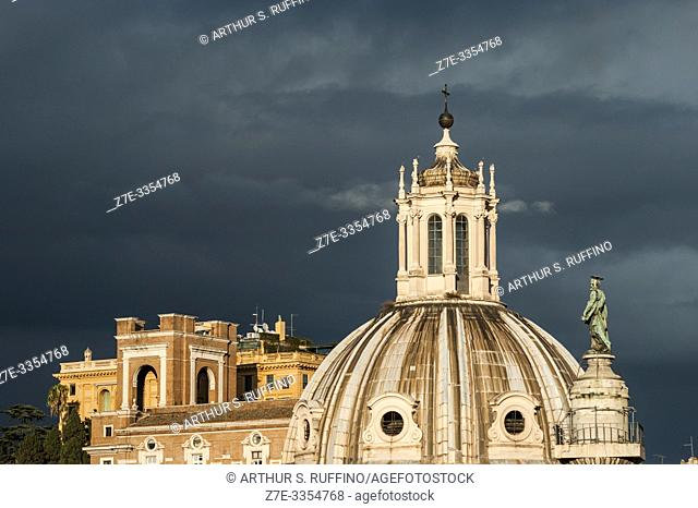 Dome of Santissimo Nome di Maria al Foro Traiano (Church of the Most Holy Name of Mary at the Trajan Forum). View from Victor Emmanuel II Monument (Monumento...