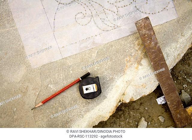 Tools for designing ; pencil stone carving craft ; village Dilwara ; Udaipur ; Rajasthan ; India