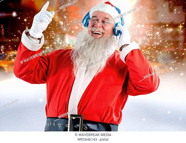 Santa claus listening to music on headphones