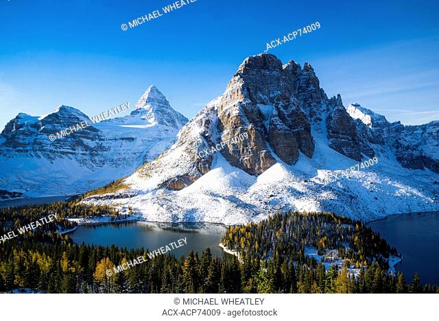 Mount Assiniboine and Sunburst Peak, Magog, Sunburst and Cerulean Lake, Mount Assiniboine Provincial Park, British Columbia, Canada