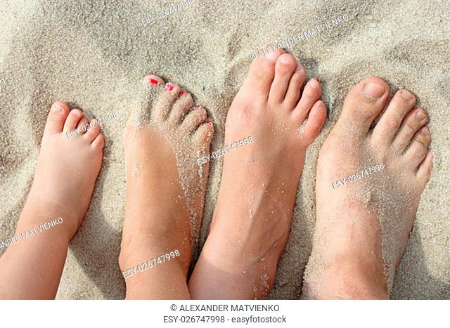 feet of father mother and their daughters stand on the beach sand. united family on the holiday