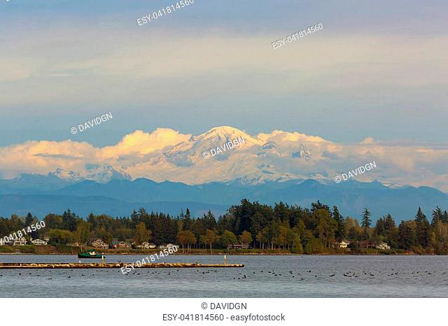 Mount Baker along Semiahmoo Bay waterfront homes in Blaine Washington State