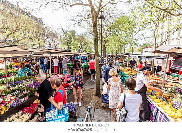 France, Paris, city centre, at the Place de la Bastille, weekly market, market stalls, market