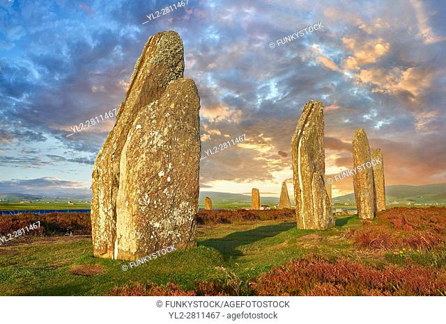 The Ring of Brodgar ( circa 2,500 to circa 2,000 BC) is a Neolithic henge and stone circle or henge, the largest and finest stone circles in the British Isles
