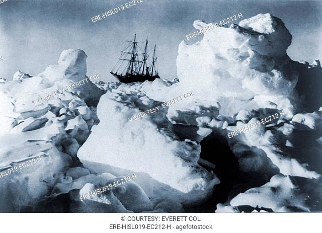 Polar explorer, Ernest Shackleton's ship, ENDURANCE, trapped in Weddell Sea pack ice in Antarctica in 1916. The British Imperial Trans-Antarctic Expedition
