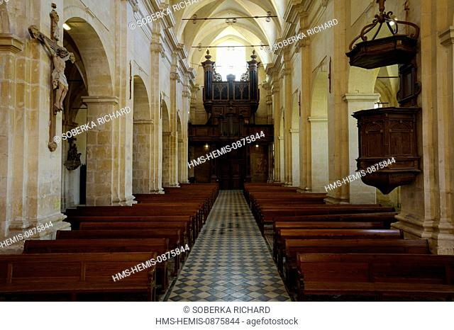 France, Aisne, Saint Michel en Thierache, abbey, church of the abbey, Christ on the cross organ and pulpit in the central alley