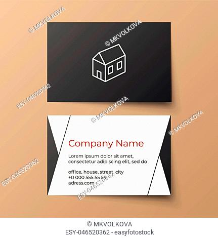 Business card vector template. Building or architectural company. White, black and red colors. House illustration. Minimalistic business style