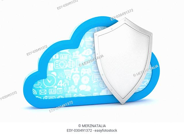 cloud and shield, cloud security concept. 3d rendering