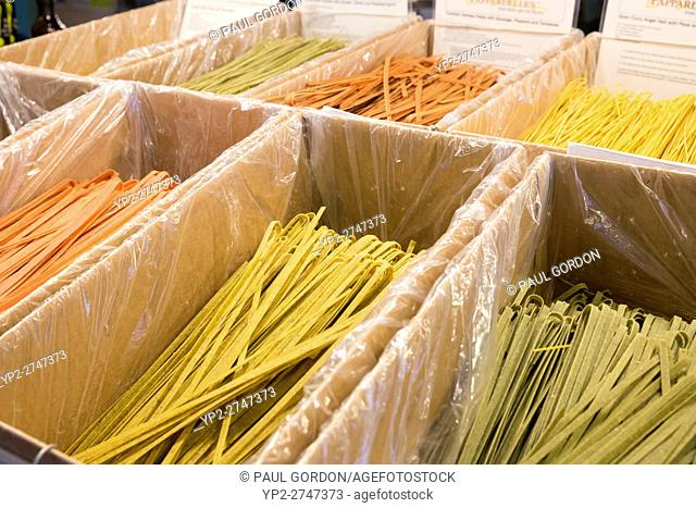 Seattle, Washington: Bins of dried pasta at Pappardelle's Pasta in Pike Place Market. Famous for its dark chocolate linguini