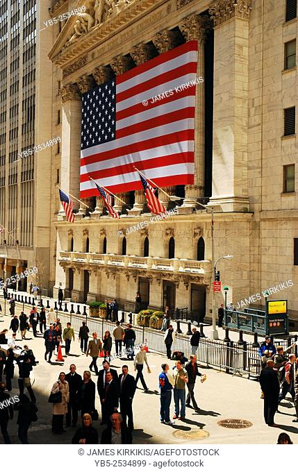 Lunchtime Crowd in Front of the New York Stock Exchange on Wall Street