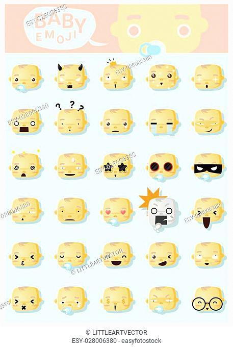 Baby emoji icons, vector, illustration