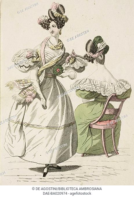 Woman wearing a white dress with puffed sleeves, yellow and pink pastel scarf, colours which are picked up in the ribbon in her elaborate hairstyle and a woman...