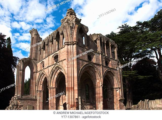 The ruined medieval architecture of Dryburgh Abbey in the Scottish borders, Dryburgh, Scotland