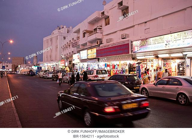 Street scene in the evening, Muttrah, Oman, Middle East