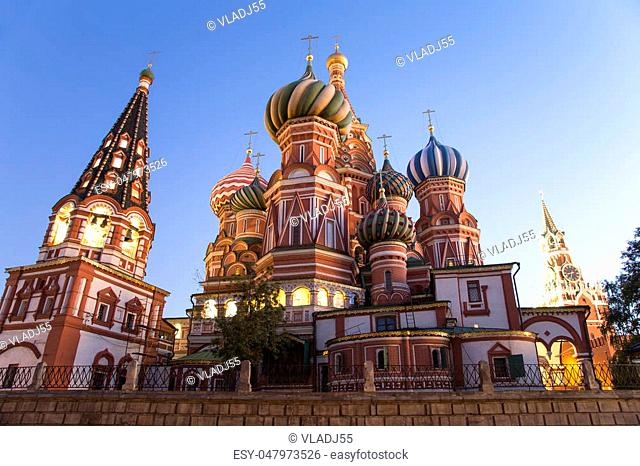Moscow, Russia, Red Square, Cathedral of Intercession of Most Holy Theotokos on the Moat ( Temple of Basil the Blessed) at night