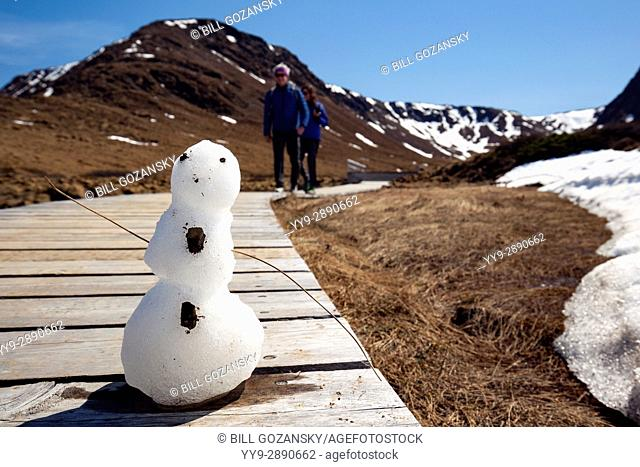 Snowman on trail in the Tablelands, Gros Morne National Park, near Woody Point, Newfoundland, Canada