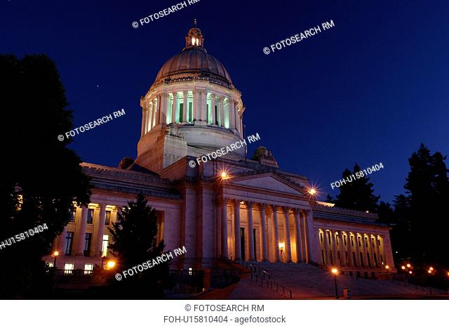Olympia, WA, Washington, State Capitol, The Capitol Campus, evening