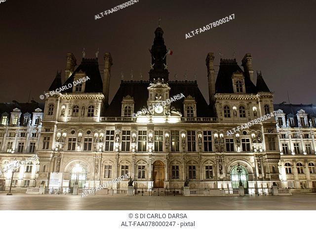 France, Paris, Hotel de Ville illuminated at night