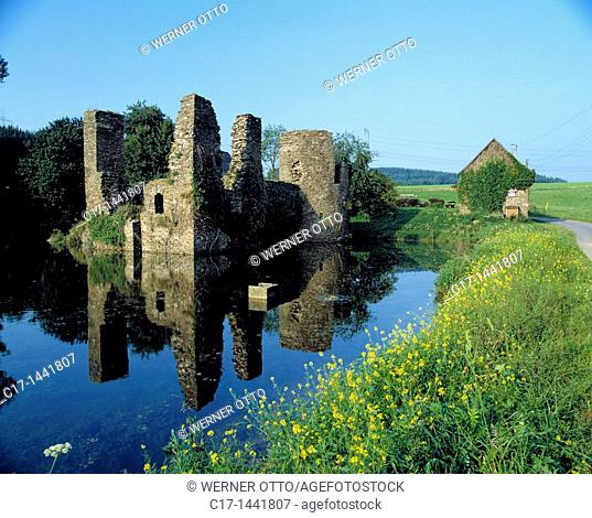 Germany. Lindlar, nature reserve Bergisches Land, Rhineland, North Rhine-Westphalia, NRW, Lindlar-Eibach, castle ruin Eibach, moated castle, ditch
