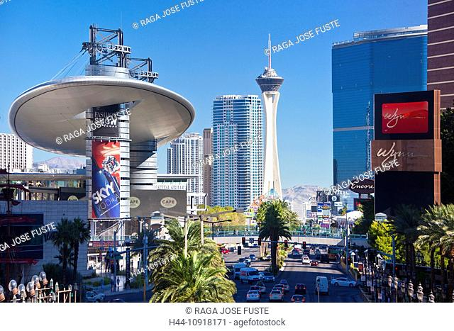 USA, United States, America, Nevada, Las Vegas, City, Strip, Avenue, Stratosphere Tower, architecture, busy, cars, casinos, center, colourful, famous, modern