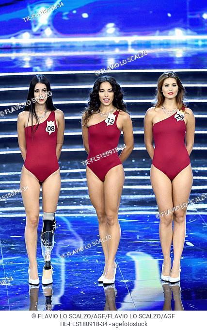 Chiara Bordi, Carlotta Maggiorana Miss Italia 2018, Fiorenza D'Antonio at the final of Miss Italia 2018, Milan, ITALY-17-09-2018
