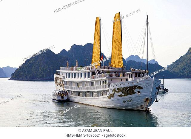 Vietnam, Quang Ninh region, Halong Bay, listed as World Heritage by UNESCO, a junk