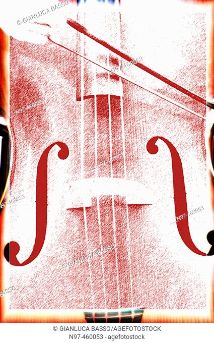 A graphic elaboration of a violoncello played by a street artist