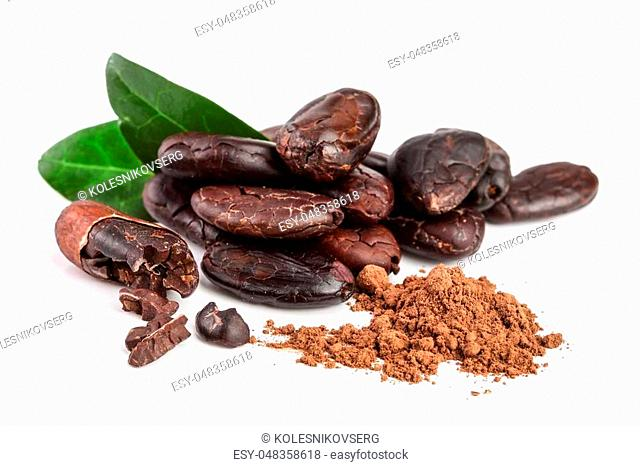 peeled cocoa bean with leaf and cocoa powder isolated on white background