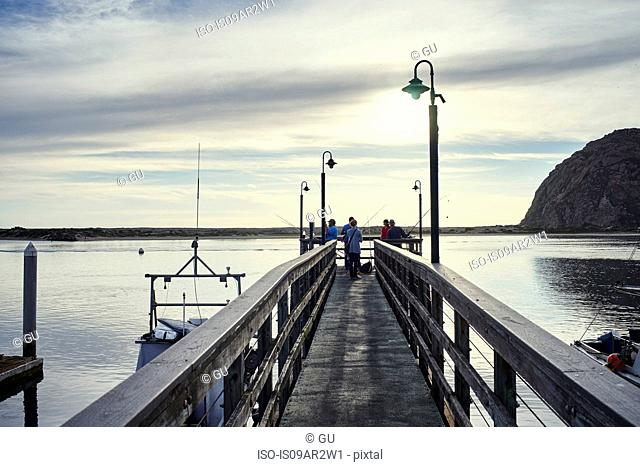 Small group of fishermen fishing from pier, Morro Bay, California, USA
