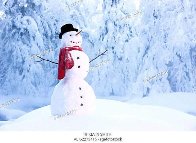 Snowman in red scarf and black top hat standing amongst hoar frosted trees in russian jack springs park; anchorage alaska united states of america