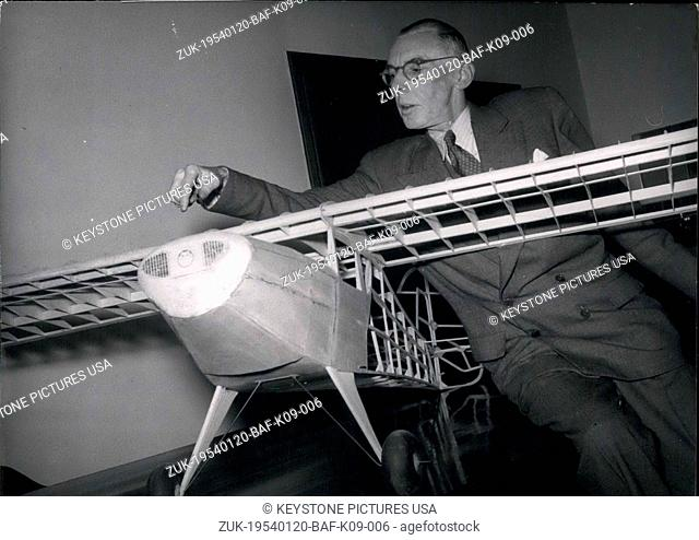Jan. 20, 1954 - Prof. Julius Krauss became the first new chair of the Technical College of Munich for Plane Construction in the post war period
