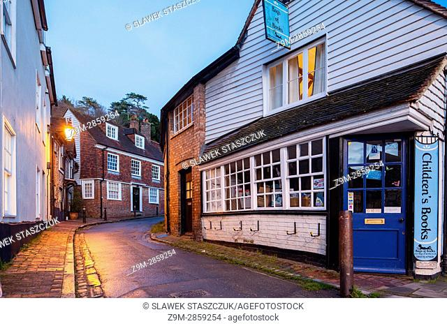 Night falls in Lewes, East Sussex, England