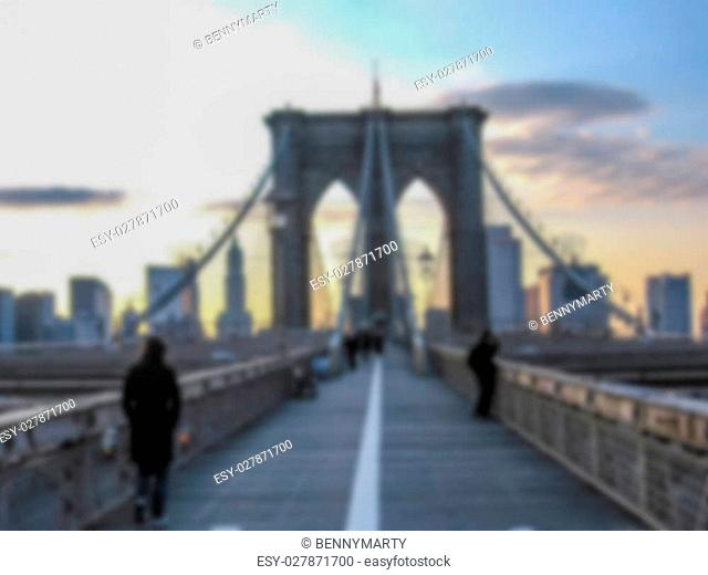 Defocused background with Brooklyn at sunset in New York, United States. Intentionally blurred post production for bokeh effect