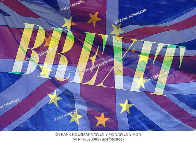 PHOTO MONTAGE! Topic image, symbolic picture BREXIT - the exit of Great Britain from the EU. | usage worldwide. - Nuerburgring/Deutschland