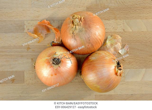 A close up shot of brown onions