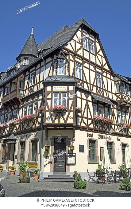 Traditionally-styled half-timbered hotel building in Bacharach on the Upper Middle Rhine Valley, Germany