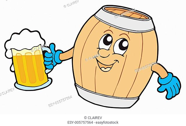 Cute wooden keg holding beer