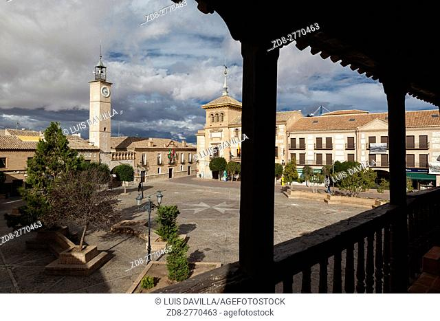 The 17th century Corredores building on the Plaza España in Consuegra (Toledo), Spain; with its wooden balcony it is one of the outstanding buidlings in the...