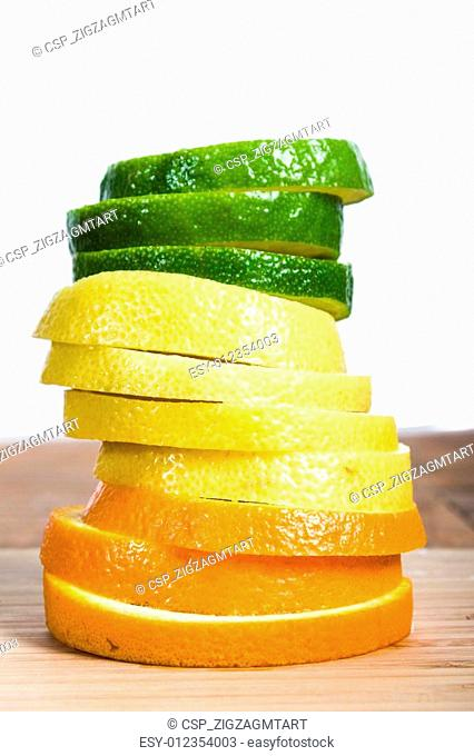 Stack of lemon, lime orange