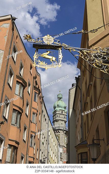 Innsbruck city center Austria on April 16, 2019: The city tower
