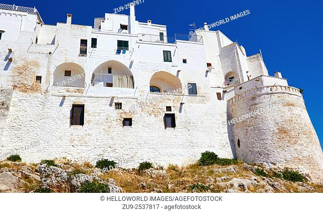 Apartments in the white city walls of Ostuni, Brindisi Province, Puglia, Italy, Europe. . Ostuni is known as La Citta Bianca, the white city
