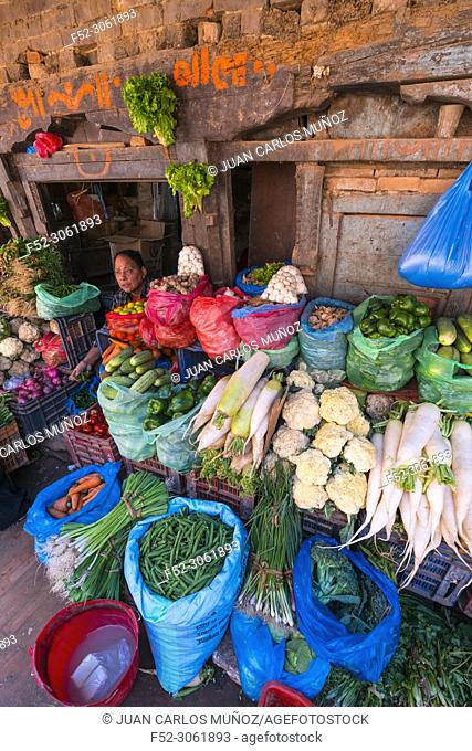 Vegetables shop, Market, Bhaktapur City, Kathmandu Valley, Nepal, Asia, Unesco World Heritage Site